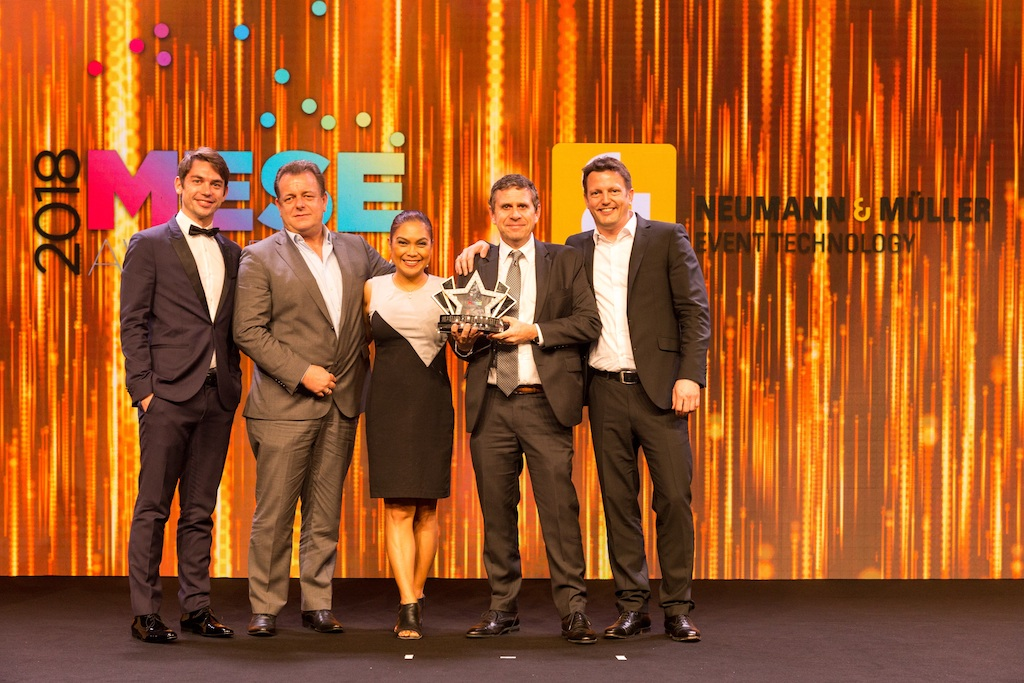 N&M Employer of the Year - Winning picture on stage