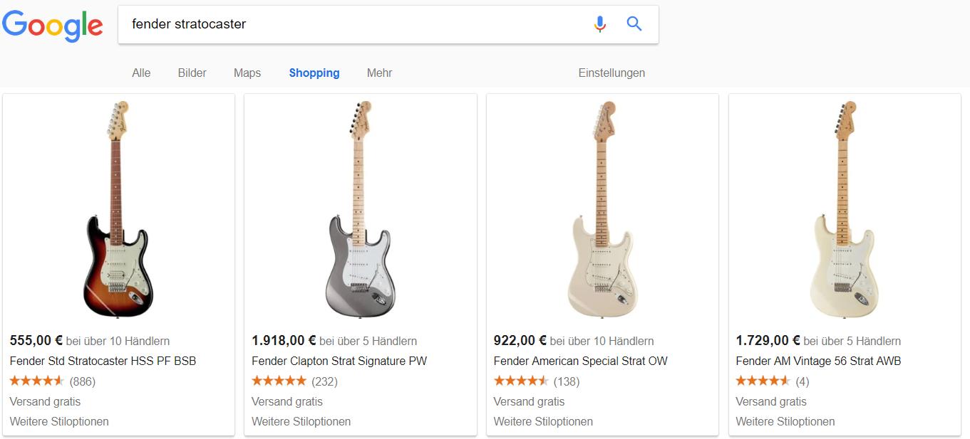 Google shopping Screen