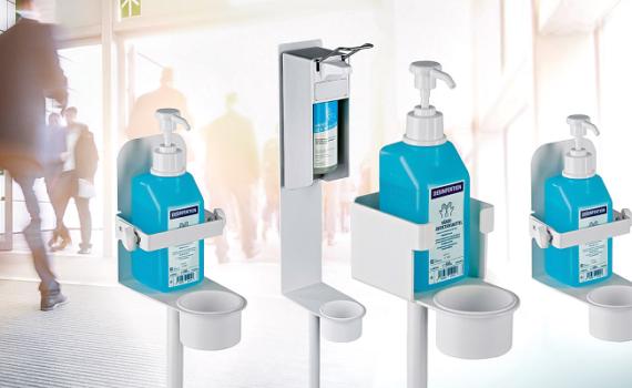König & Meyer präsentiert mobile Desinfektionsmittel-Ständer und -Halter